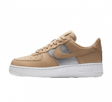 Nike Women's Air Force 1 '07 SE Premium Bio Beige/Metallic Silver-White