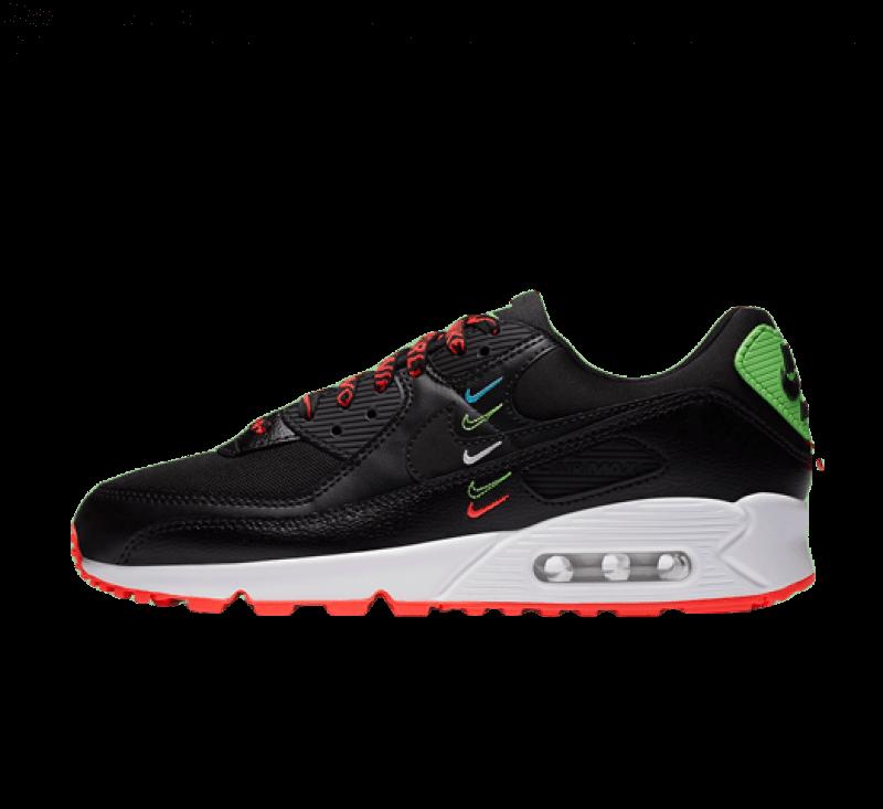 Nike Women's Air Max 90 SE Worldwide Pack Black/Flash Crimson-Green Strike