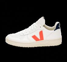 Veja Women's V-10 Leather Extra White/Fluo Orange