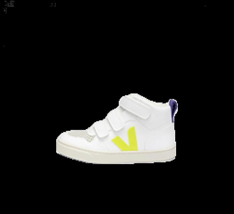 Veja Small V-10 Mid CWL White/Jaune Fluo-Purple