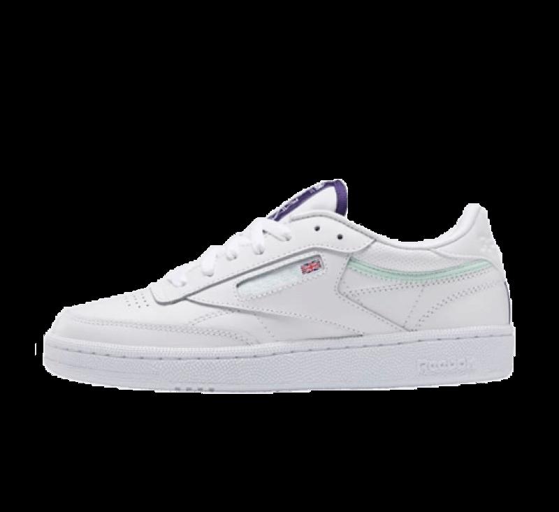 Reebok Women's Club C 85 Footwear White/Dark Orchid-Aqua Dust