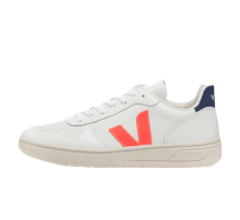 Veja V-10 Leather Extra White/Orange Fluo-Cobalt