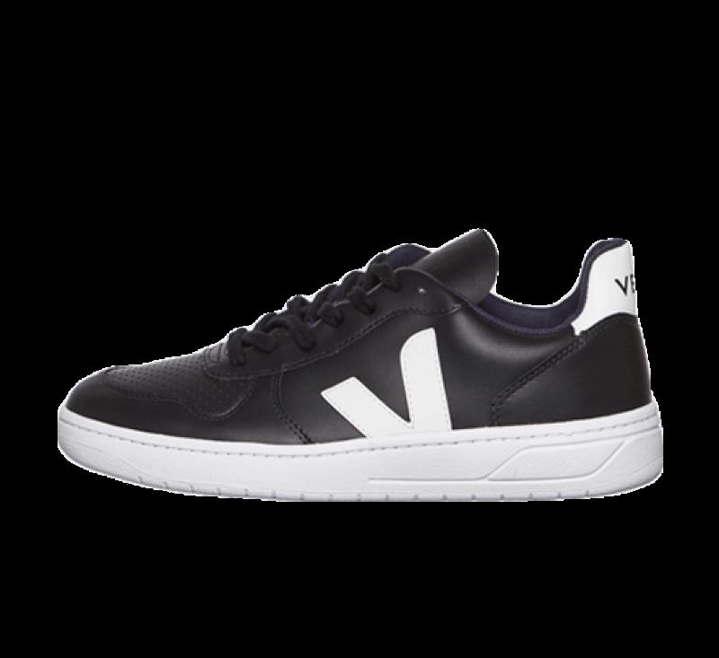 Veja V-10 Leather Black/White-White Sole