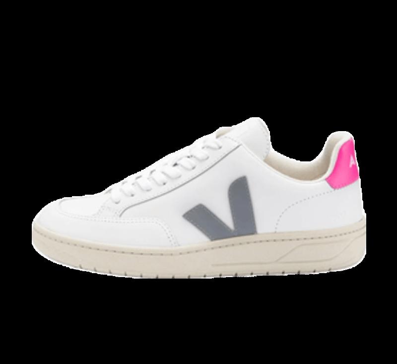 Veja Women's V-12 Leather Extra White/Oxford Grey-Saree
