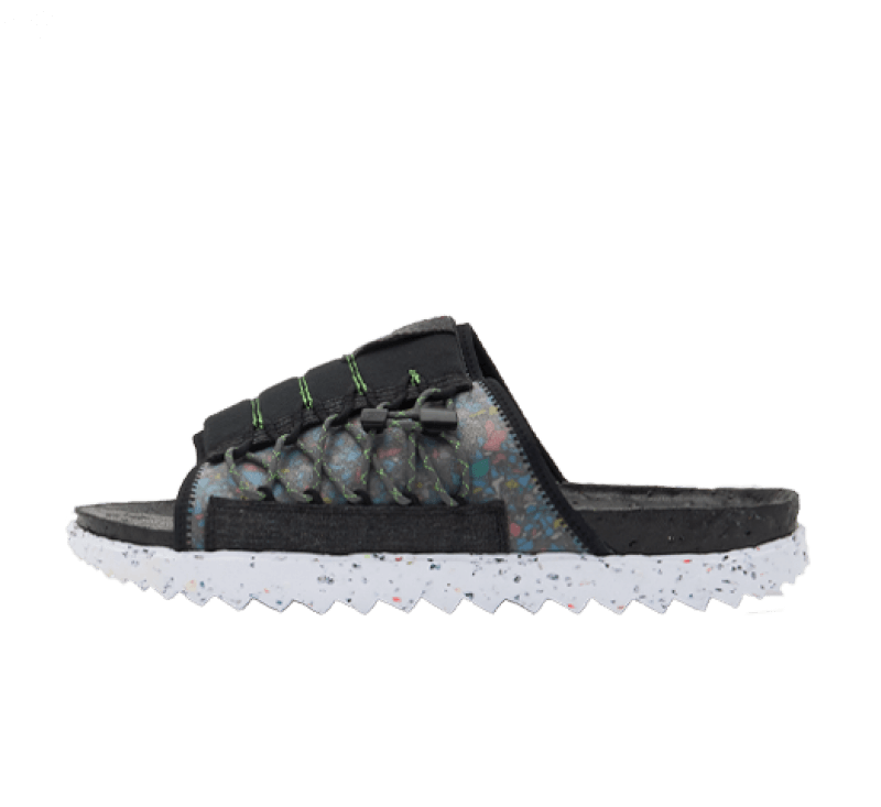 Nike Asuna Slide Crater Black/White-Mean Green-Iron Grey