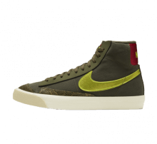 Nike Women's Blazer Mid '77 Medium Olive/Lemon Venom-Fossil