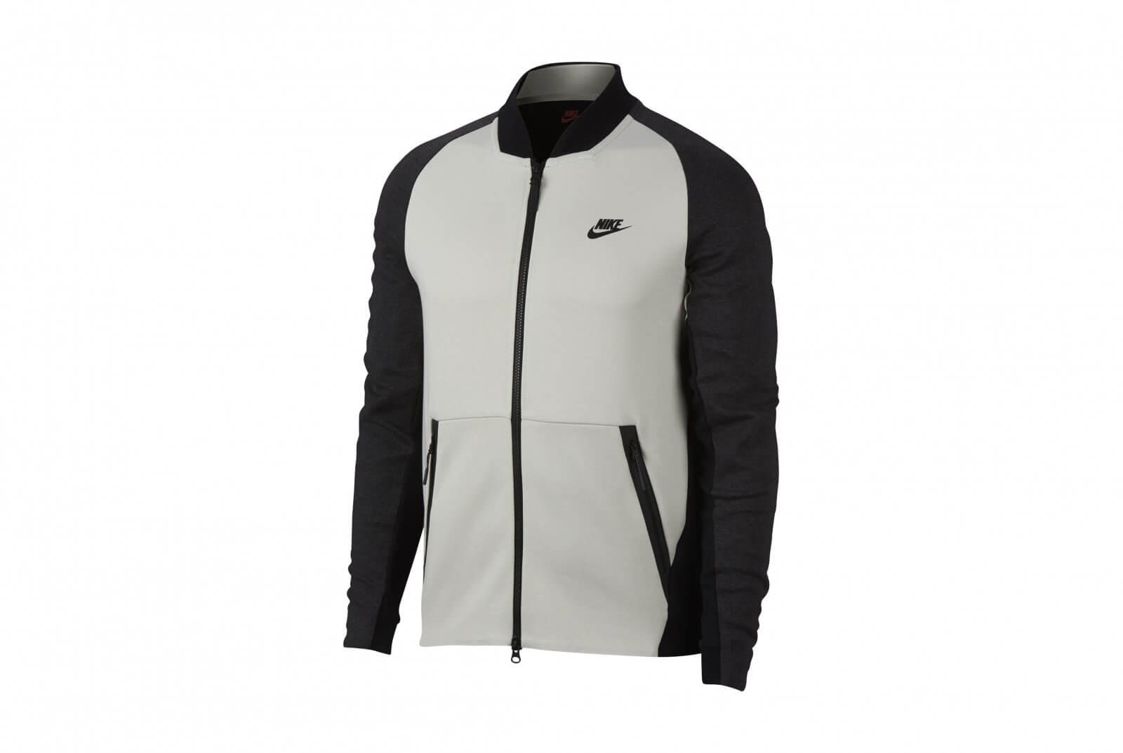 Nike Sportswear Tech Fleece Varsity Jacket Light Bone Black Heather 886617 091