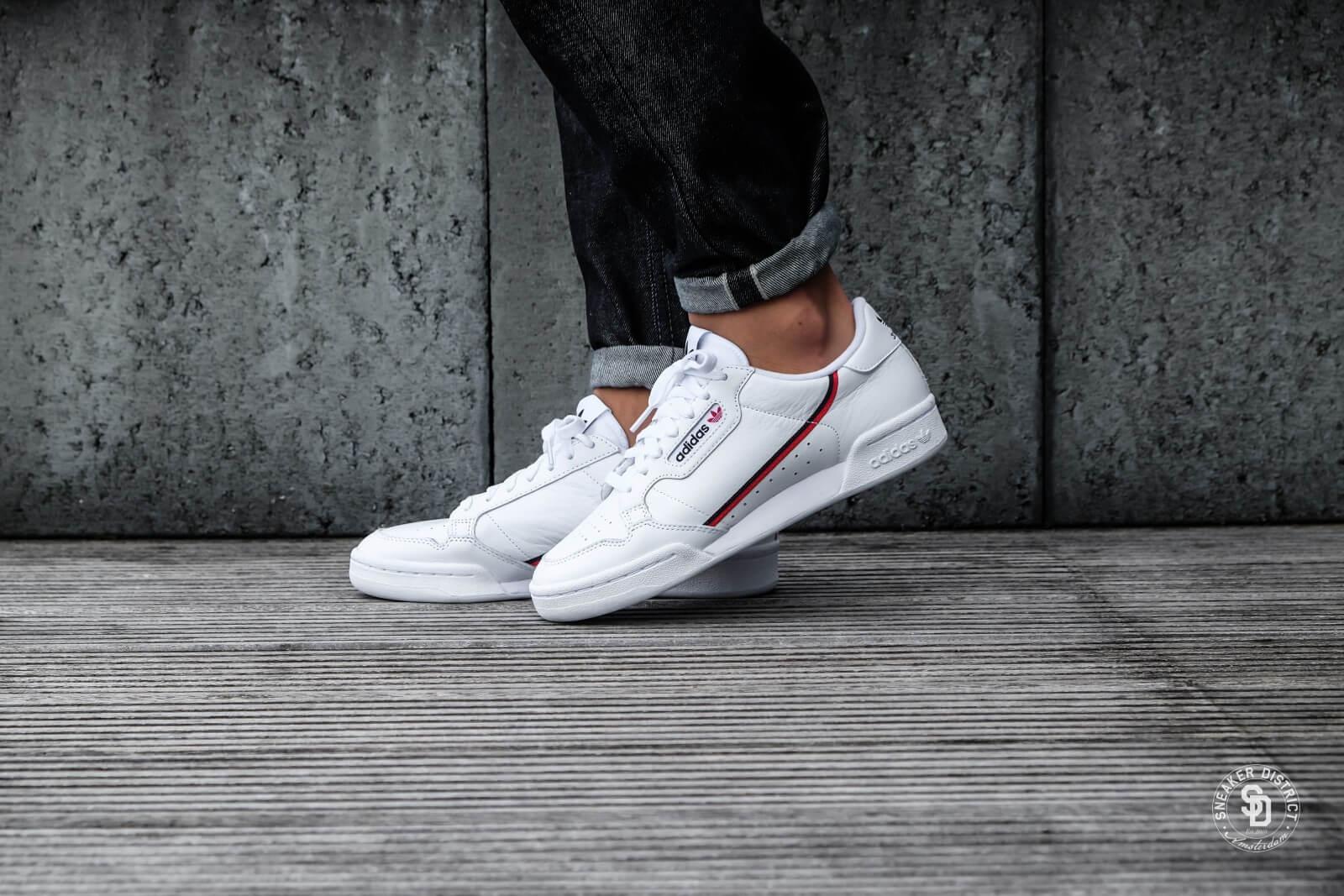 Adidas Continental 80 Footwear White/Scarlet/Navy - B41674
