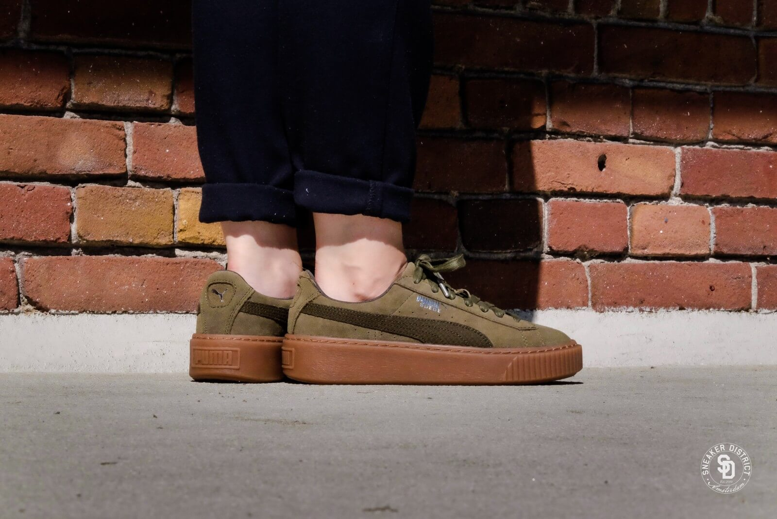 Puma Suede Platform Animal/Olive Night-Silver - 036510903