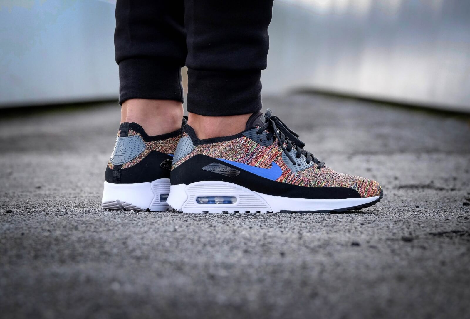 nieuw Nike Air Max 90 Ultra 2.0 Flyknit Blue White Black