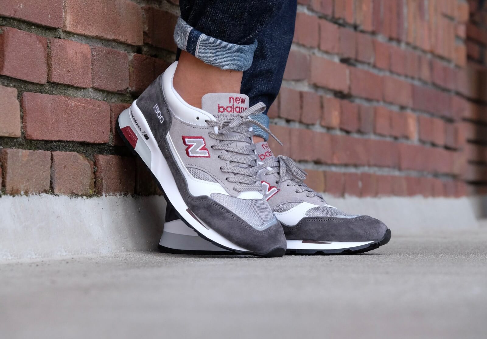 new balance m1500 grw grey with red white 5450416012