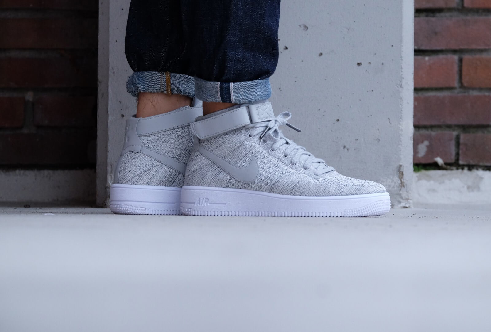 Nike Air Force 1 Ultra Flyknit Mid Wolf greywolf grey white 817420 003