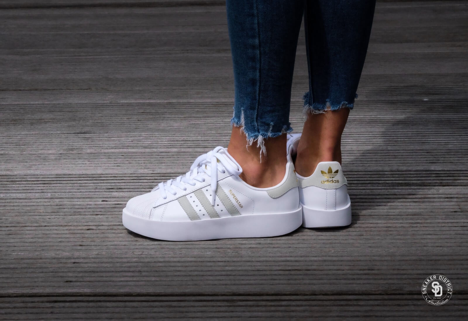 Adidas Superstar Bold Platform Footwear White Linen Green Gold Metallic