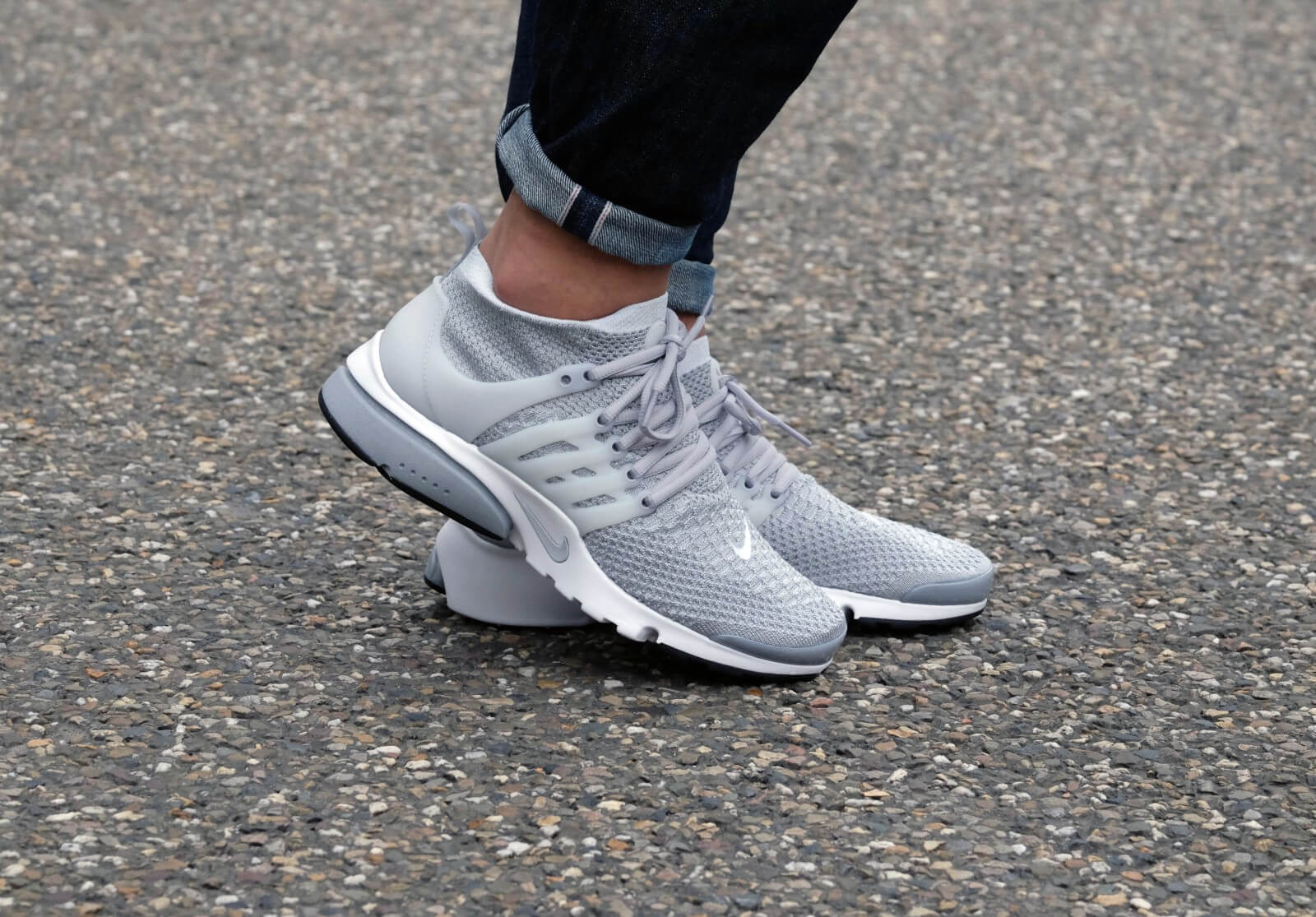 ... 829553 001 Mens Sport Running Shoes Nike Air Presto Flyknit Ultra -  Wolf Grey Pure Platinum White Black ... b2aa6d3d6