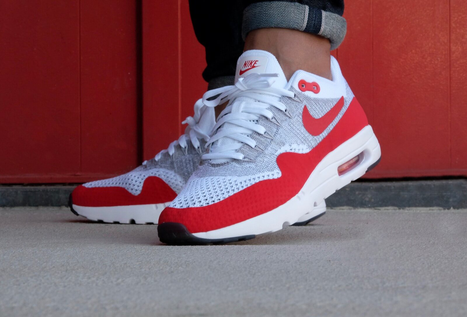 55098d43199 ... cheap nike air max 1 ultra flyknit white pure platinum cool grey  university red 867ea 0ff90