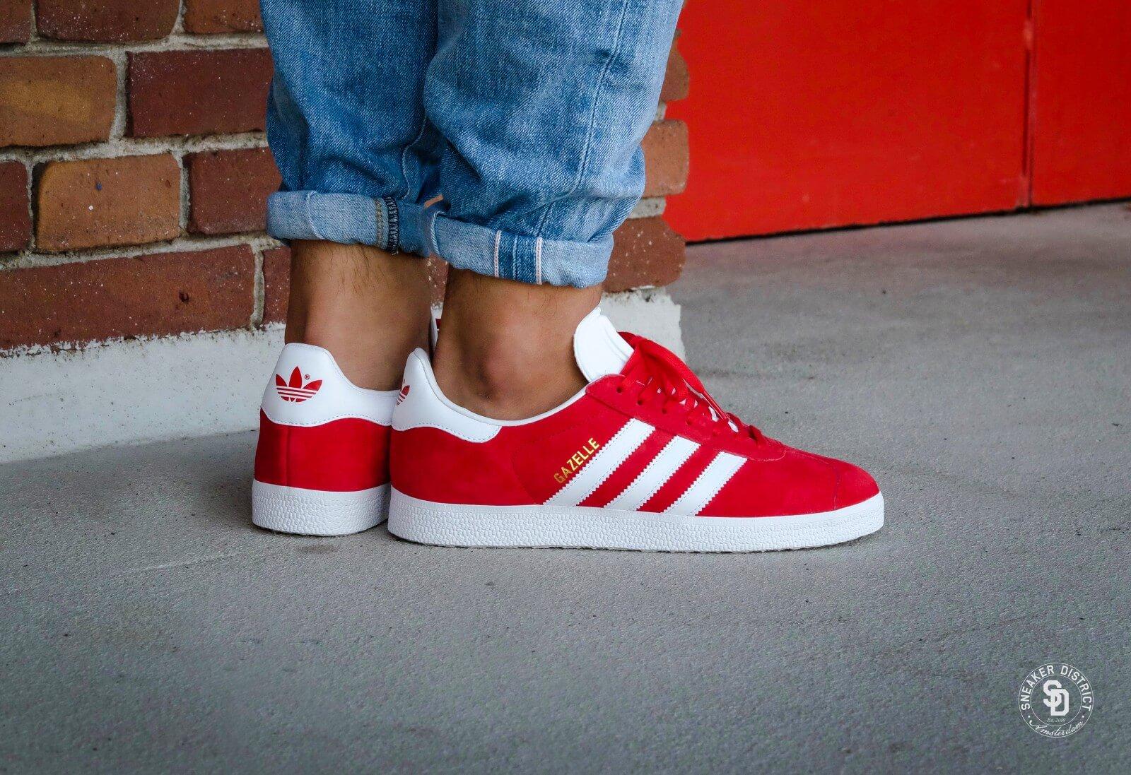 Adidas Gazelle Scarlet Footwear White Gold Metallic