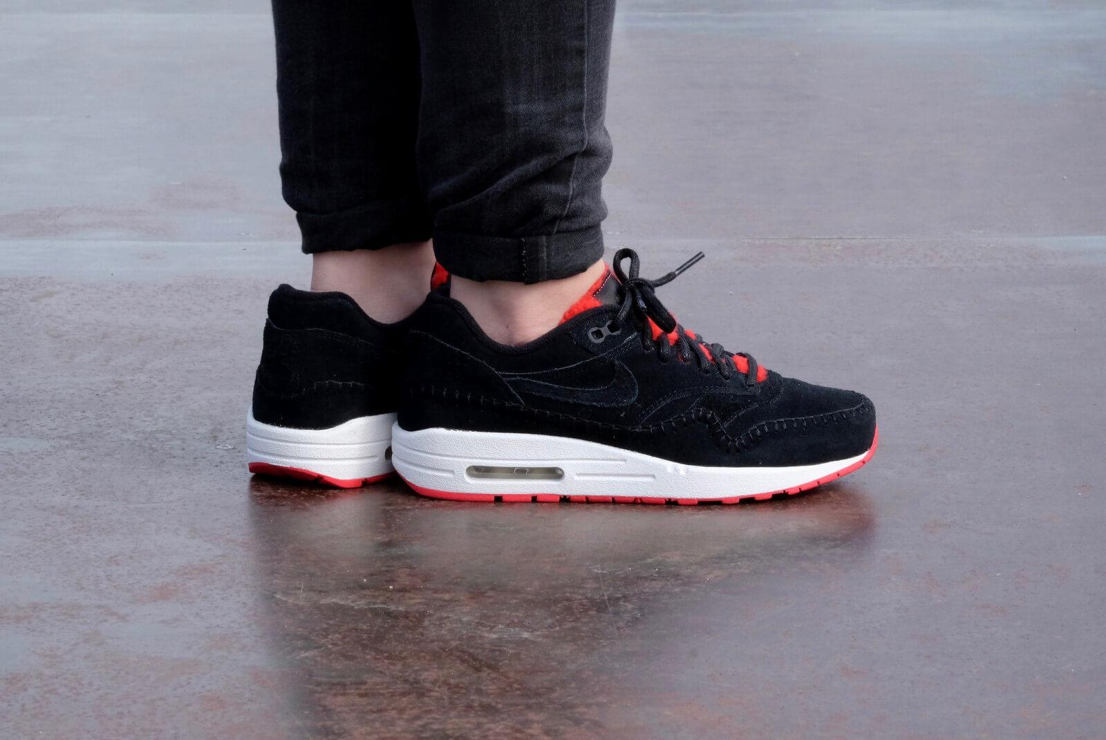 Nike WMNS Air Max 1 PRM Black Black Action Red 454746 010