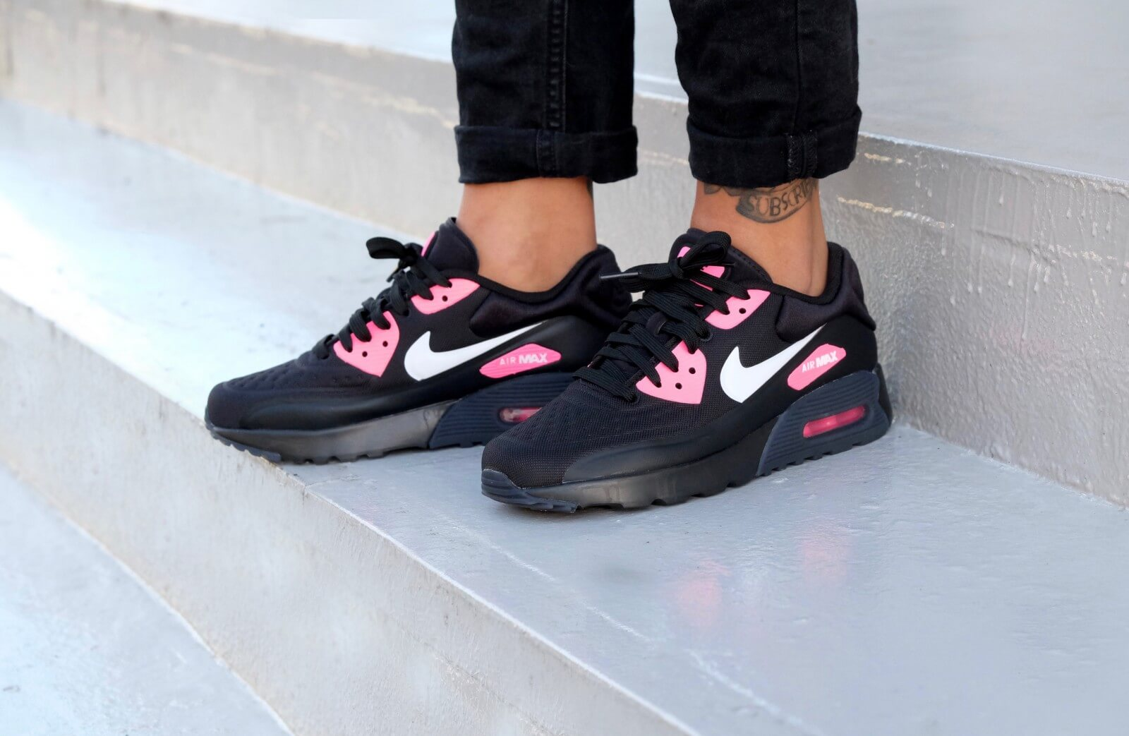 new concept 53451 94c3f nike wmns air max 90 ultra special edition gs black white hyper pink