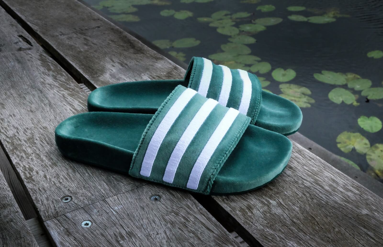 Adidas Adilette Velvet Core Green / White - BY9907