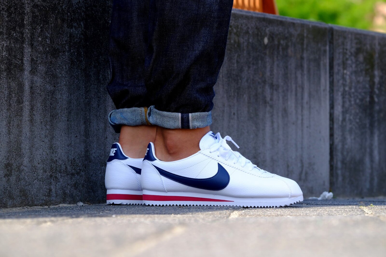 Nike Classic Cortez Leather White/ Midnight Navy-Gym Red ...