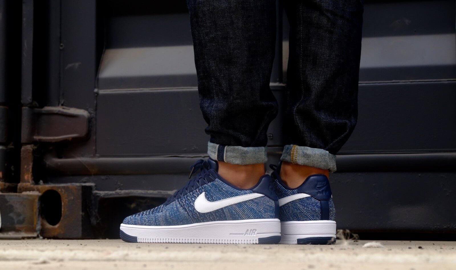 Nike Air Force 1 Ultra Flyknit Low Obsidian White Star Pure Platinum 817419 400