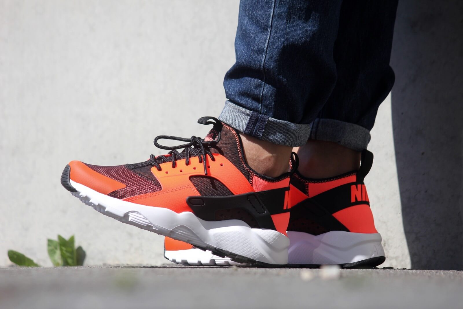 best sneakers 4fc31 a736e ... cheap nike air huarache run ultra black total crimson white 2de94 e334d