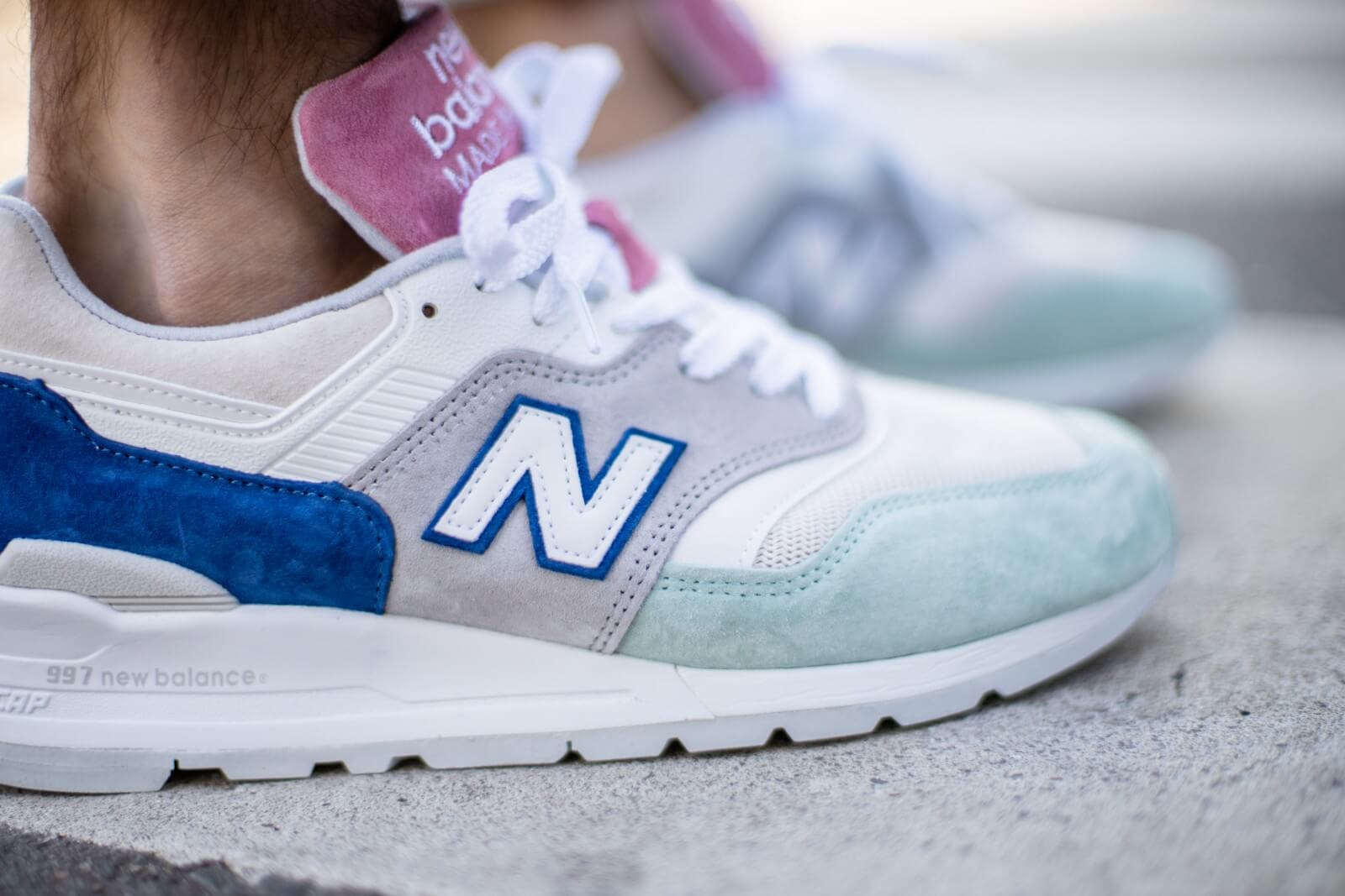 New Balance M997SOA Grey/Mint-Pink Made in USA - M997SOA