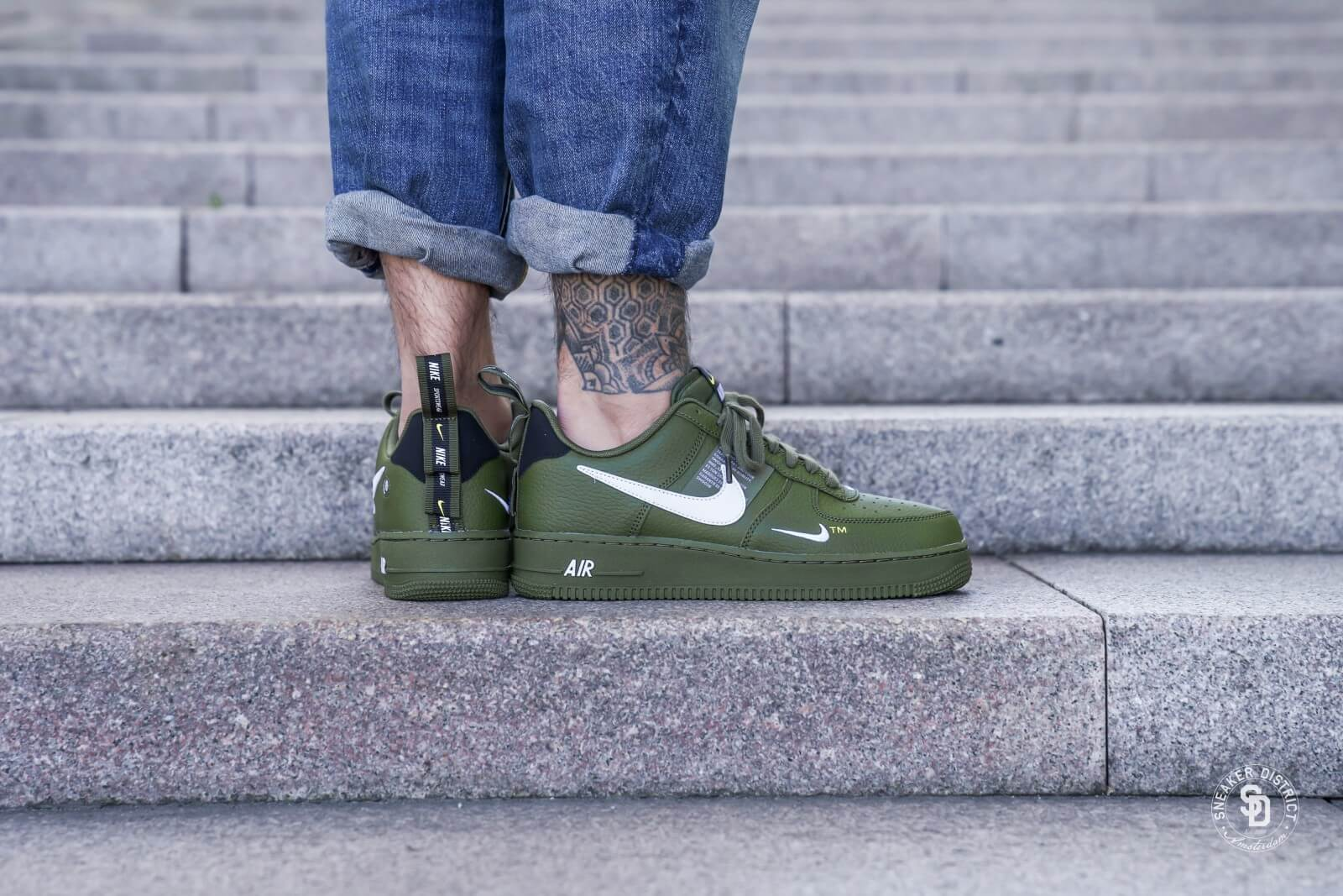 pick up great quality official store Nike Air Force 1 '07 LV8 Utility Olive Canvas/White-Black - AJ7747-300
