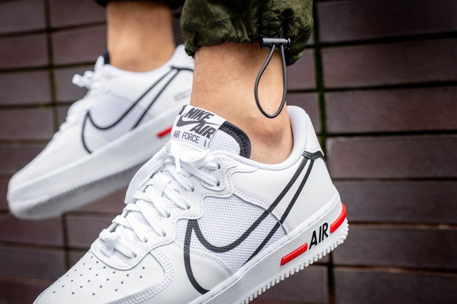 Nike Air Force 1 React White/Black-University Red - CD4366-100