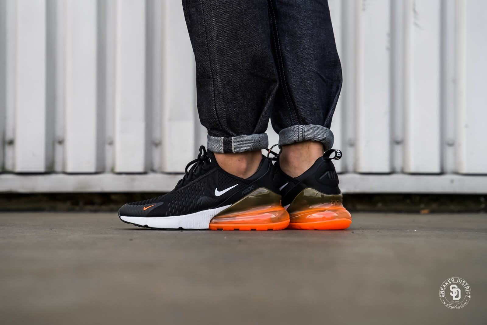 air max 270 white black total orange