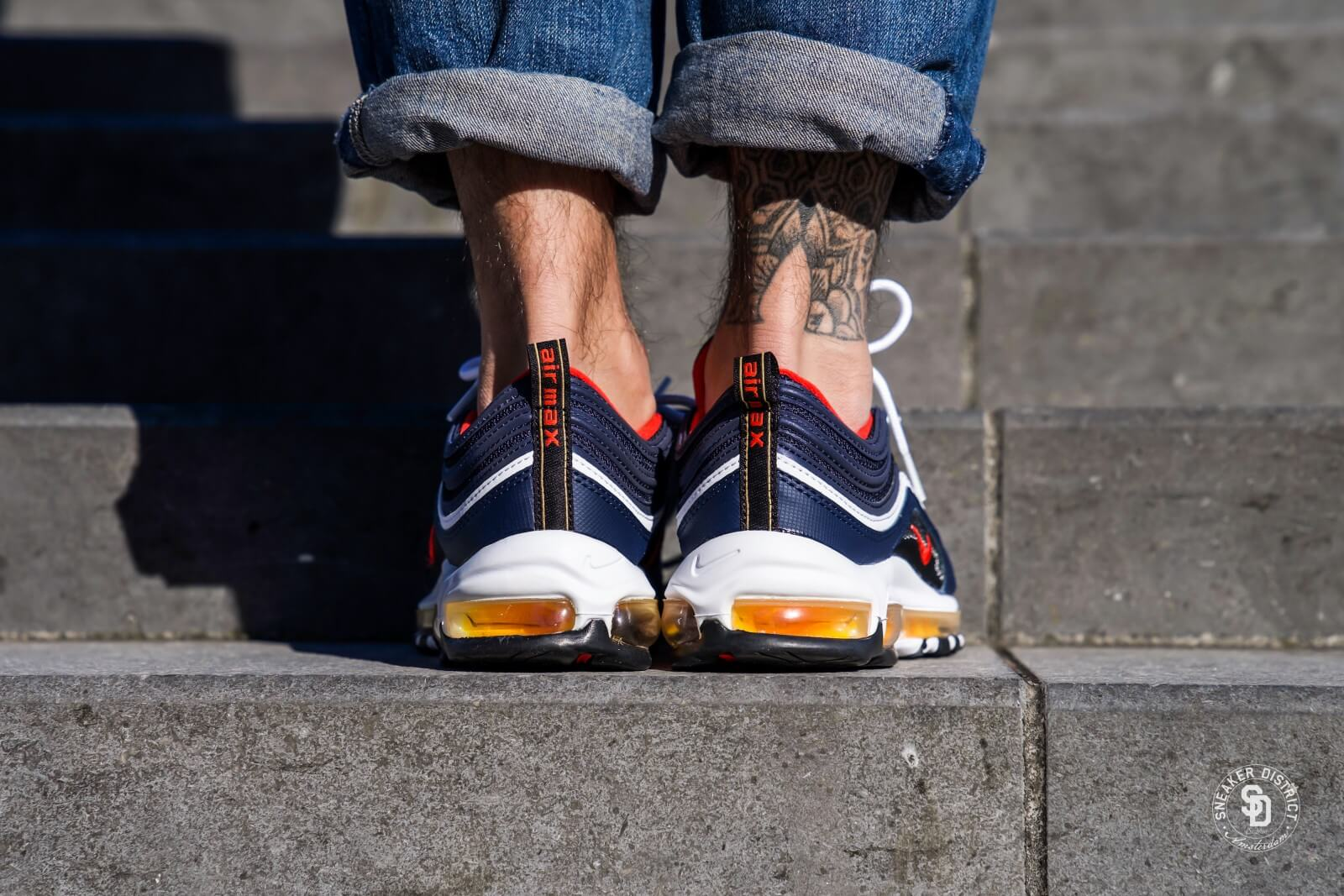 Nike Air Max 97 Midnight Navy Habanero Red Black 921826 403