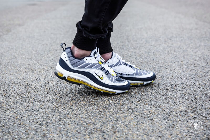 Nike Air Max 98 White Tour Yellow-Midnight Navy - 640744-105 ad17f39af