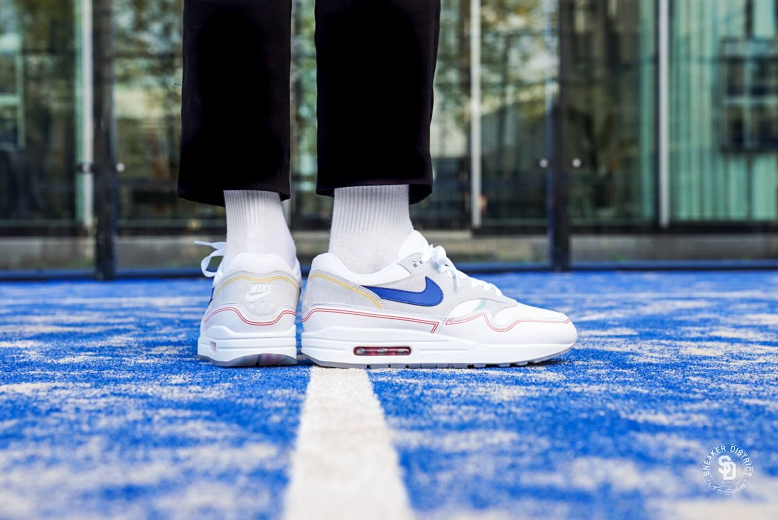 on feet images of online here cute cheap Nike Air Max 1 By Day Pure Platinum/Royal Blue-White - AV3735-002