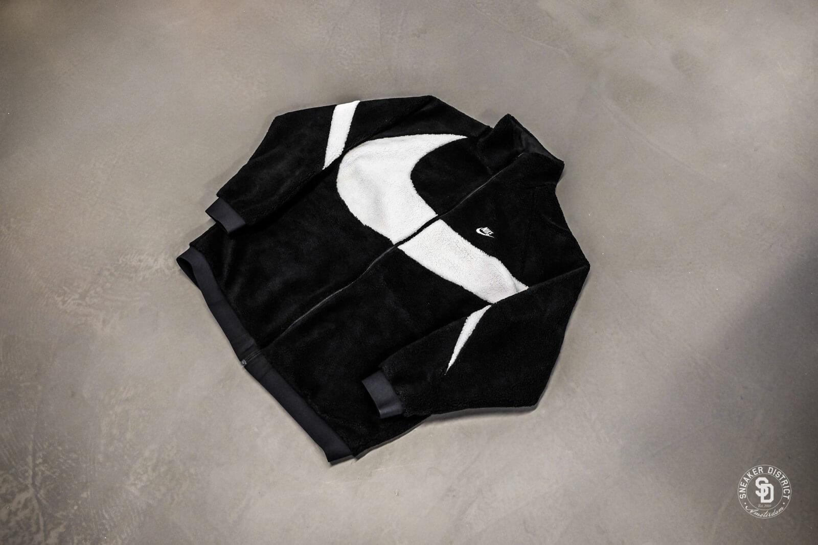 Nike Swoosh Reversible Fullzip Teddy Jacket Black White