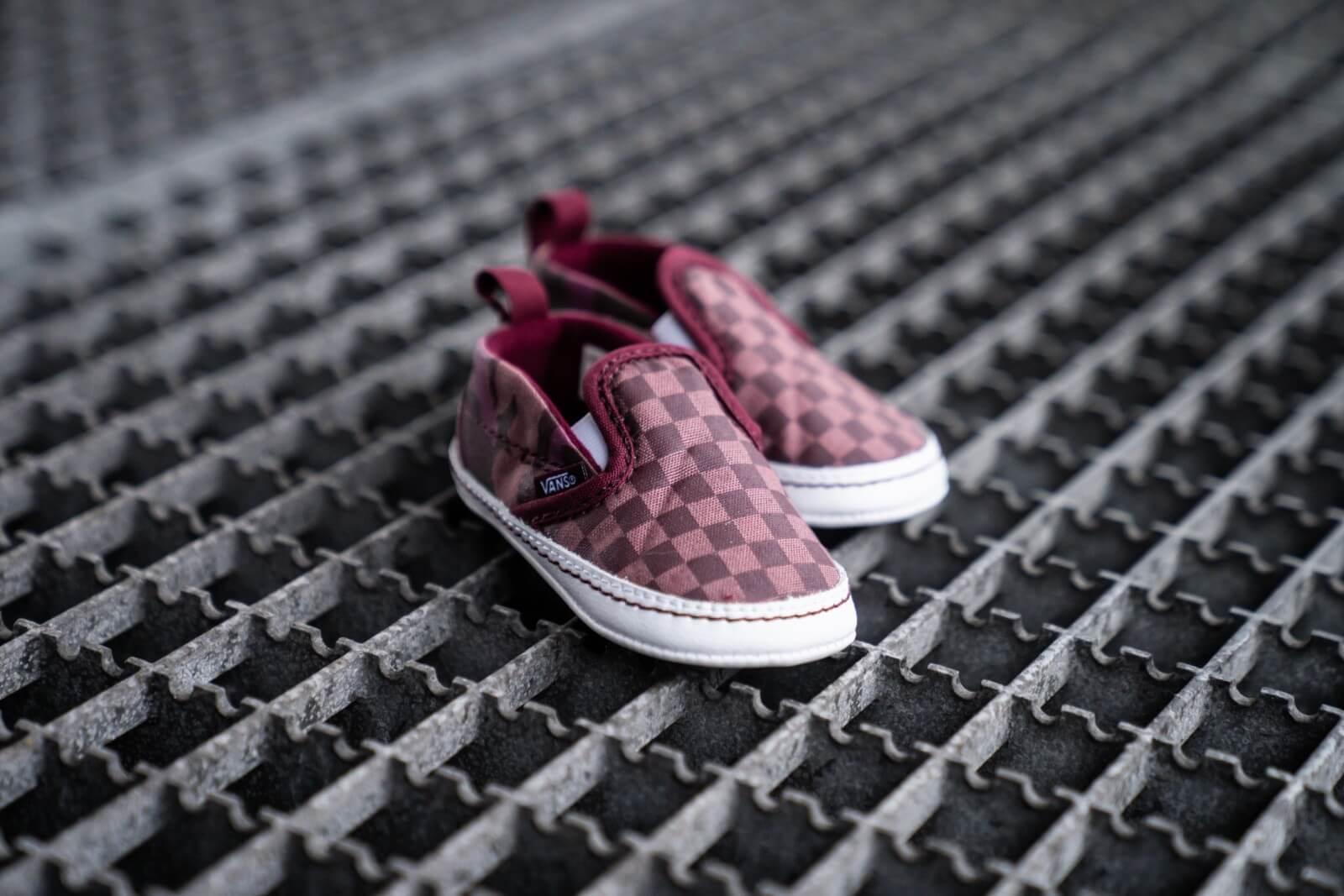 Vans Slip On V Crib Tonal Checkerboard Burgundy VN0A2XSLSRZ1