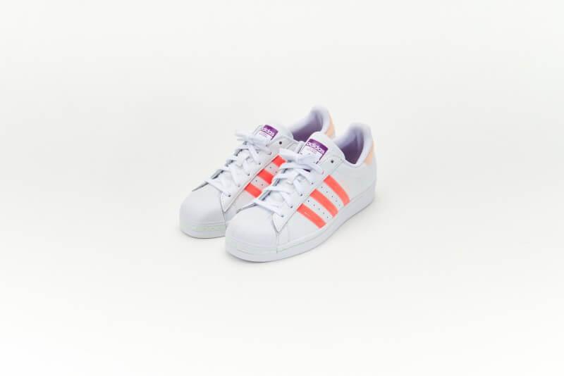 Adidas Women's Superstar Footwear White/Signal Pink-Shock Purple