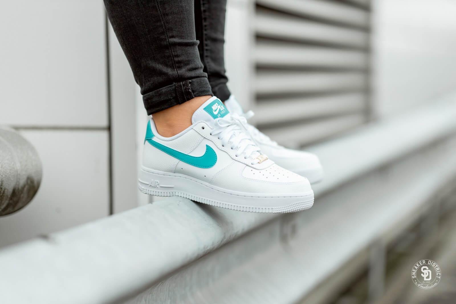 Nike Women S Air Force 1 White Teal Nebula Gold Ah0287 109