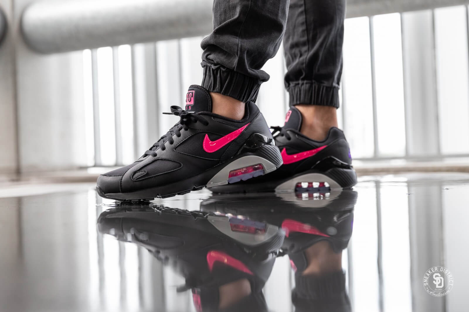 Details about Nike Air Max 180 AQ9974 001 BlackPink Blast Wolf Grey Men's shoes
