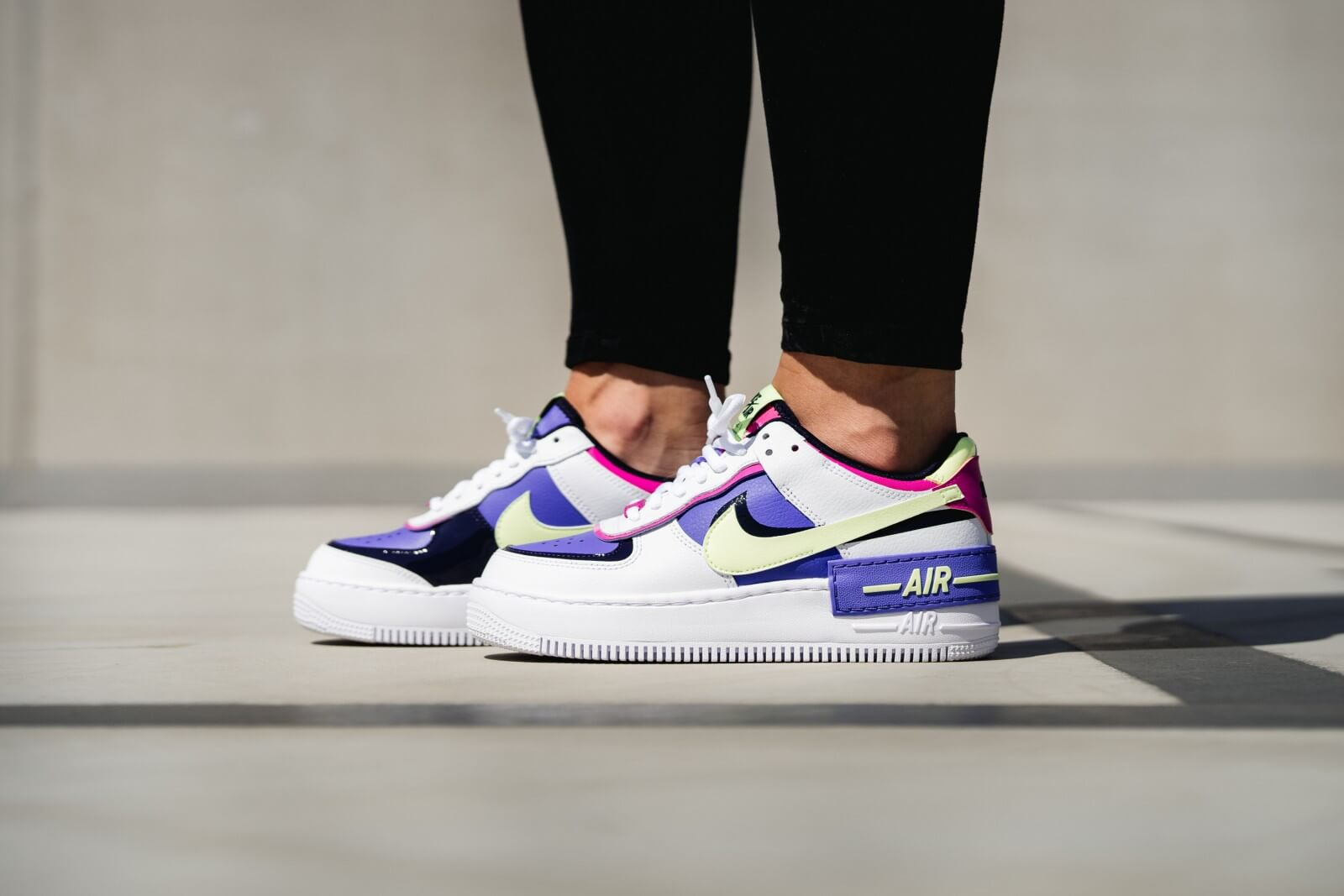 Nike Women S Air Force 1 Shadow White Barely Volt Sapphire Fire