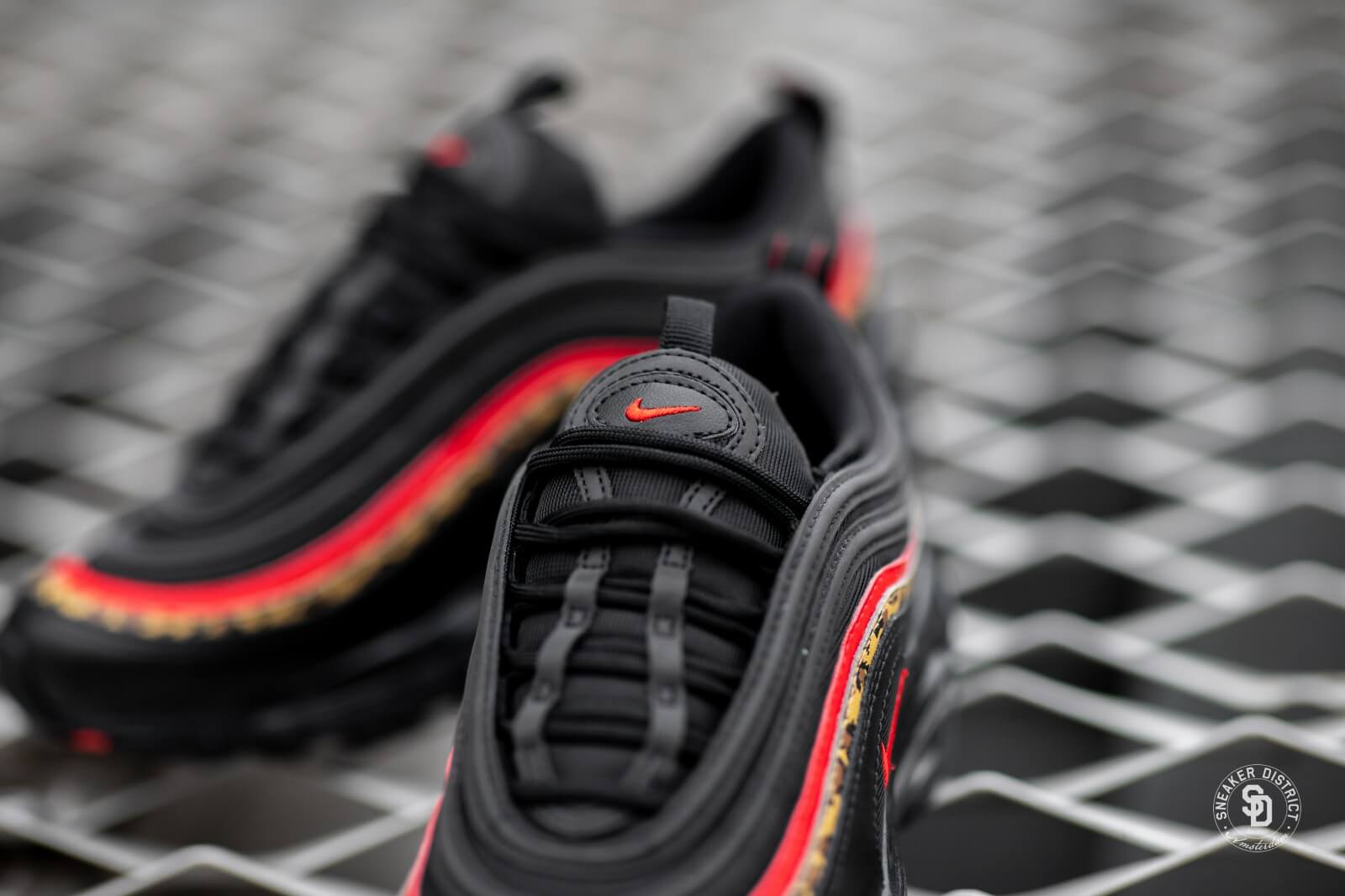 Nike Womens Air Max 97 Black University Red Print Bv6113 001